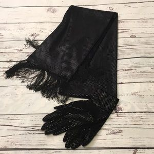 Elegant black scarf and glove set
